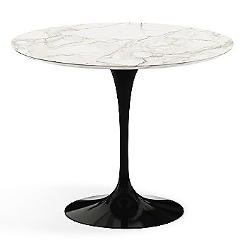 Calacatta White-Grey Beige Satin Coated Marble Top finish with Black Base / 36 Inch