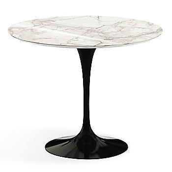 Calacatta White-Grey Beige Shiny Coated Marble Top finish with Black Base / 36 Inch