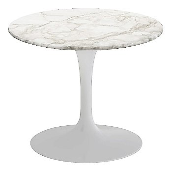 Calacatta White-Grey-Beige Satin Coated Marble, White base finish, 20-Inch Low