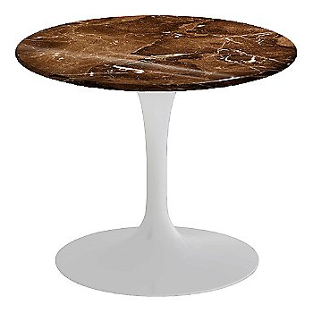 Espresso Brown Shiny Coated Marble, White base finish, 20-Inch Low