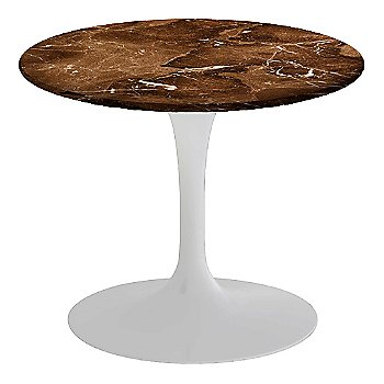 Espresso Brown Satin Coated Marble, White base finish, 20-Inch Low