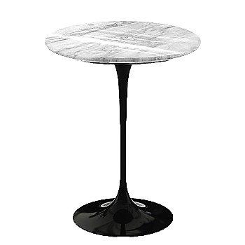 Carrara White-Grey Polished Coated Marble, Black base finish, 16-Inch
