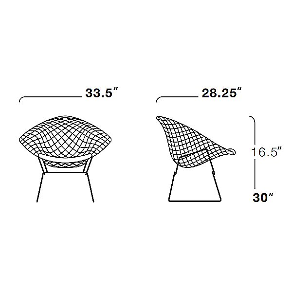 Diamond Lounge Chair with Seat Cushion, Outdoor