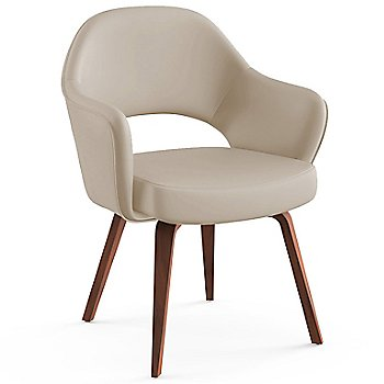 Shown in Volo Leather: Parchment Fabric Color, Light Walnut Leg Finish