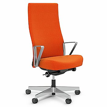Orange Fabric / Polished Aluminum base finish / Aluminum Loop Arms