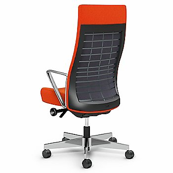 Orange Fabric / Storm (Dark Gray) back finish / Polished Aluminum base finish / Aluminum Loop Arms