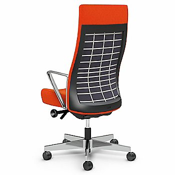 Orange Fabric / Pebble (Light Gray) back finish / Polished Aluminum base finish / Aluminum Loop Arms