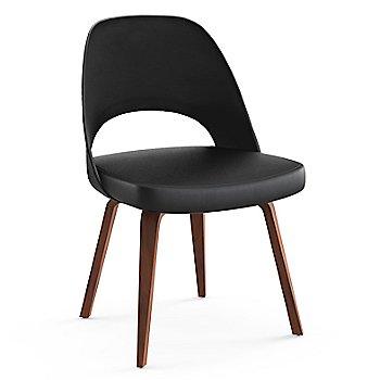 Light Walnut Leg Finish / Leather: Black Seat Finish / Black Plastic Back Finish