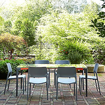 Spark Stacking Side Chair with Stromborg Outdoor Tables, Rectangular
