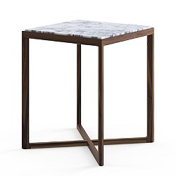 Krusin Square Tall Side Table with Marble Table Top