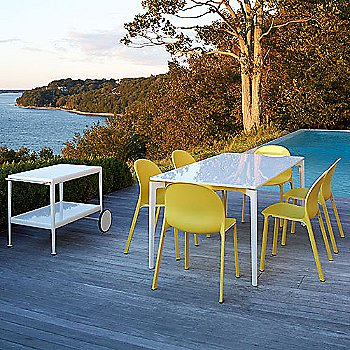 Stromborg Outdoor Tables, Rectangular with Olivares Outdoor Chairs and 1966 Serving Cart