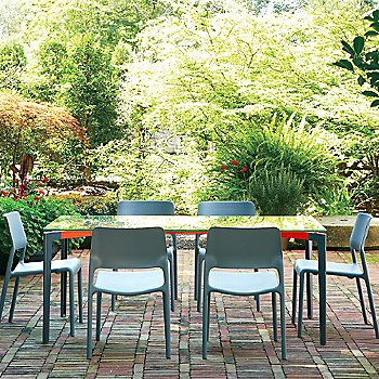 Stromborg Outdoor Tables, Rectangular with Olivares Outdoor Chairs