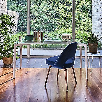 Stromborg Outdoor Tables, Rectangular with Saarinen Executive Chair with Wood Leg