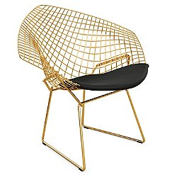 Diamond Lounge Chair with Seat Cushion in Gold
