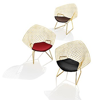 Diamond Lounge Chair with Seat Cushion in Gold collection