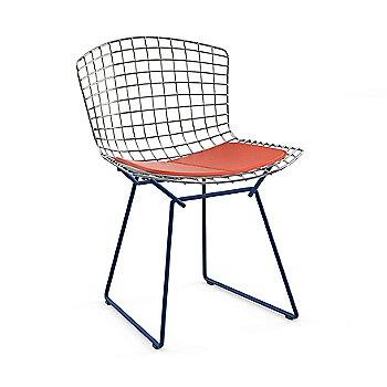 Polished Chrome Basket / Blue Base / Vinyl Carrot Upholstery