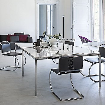 Polished Carrara White-Grey Marble - Lifestyle shown with MR Chair