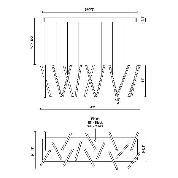 Chute LED 14-Light Linear Suspension Light