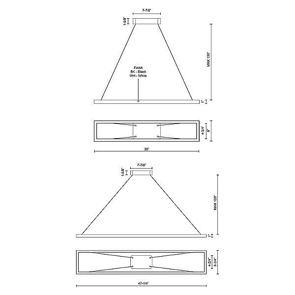 Piazza LED Rectangle Pendant Light