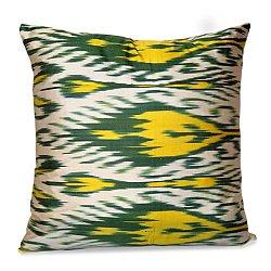Green, Yellow and White Silk Ikat Pillow