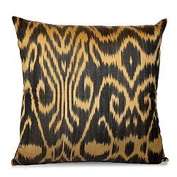 Black and Gold Silk Ikat Pillow