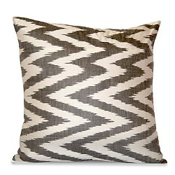 Gray and White Silk Ikat Zigzag Pillow