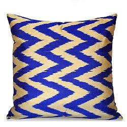 Gray and Blue Silk Ikat Pillow