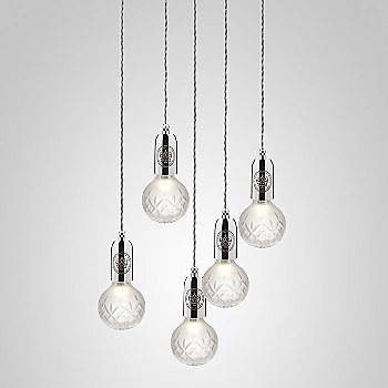 Frosted Crystal / Polished Chrome finish / 5 light