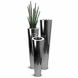 Canna Chroma Mirror Finish Flute Indoor Pot, Set of 3