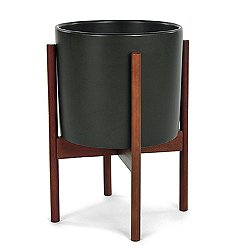 Case Study Planter with Wood Stand (Sm/Char) - OPEN BOX