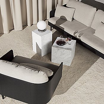 Shown in White finish with Plinth Cubic Side Table