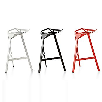 Barstool / Red/Painted Aluminum / White/Painted Aluminum Legs / Black/Anodised Aluminum Legs