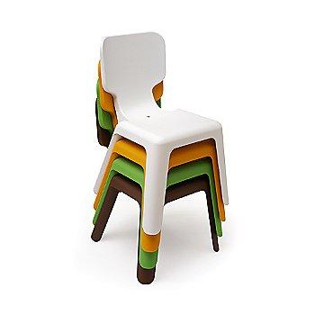 Stacked White / Orange / Green / Brown