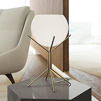 White Glass on Brass finish