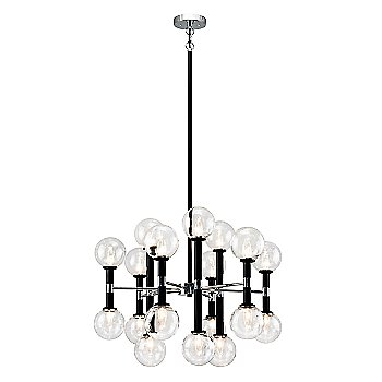 Black with Chrome finish, Clear Glass Shade color, Medium size