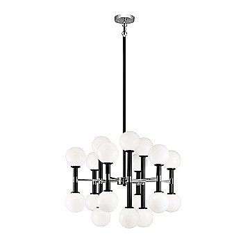 Black with Chrome finish, Opal Glass Shade color, Medium size