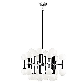 Black with Chrome finish, Opal Glass Shade color, Large size