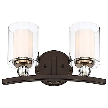 2 Lights / Painted Bronze with Natural Brushed Brass finish