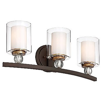 3 Lights / Painted Bronze with Natural Brushed Brass finish