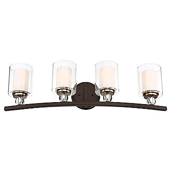 4 Lights / Painted Bronze with Natural Brushed Brass finish
