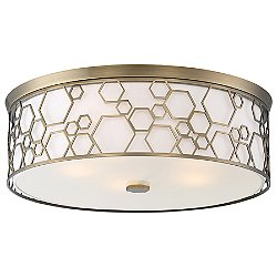 845/1845 Flush Mount Ceiling Light (Polished Satin Brass/Large) - OPEN BOX