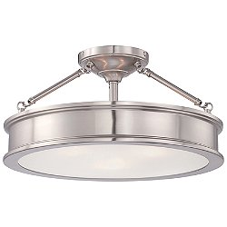 Harbour Point Drum Semi-Flushmount (Brushed Nickel)-OPEN BOX