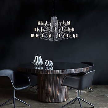 Chrome finish / Large size, in use over dining table