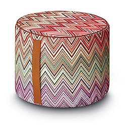 Oketo Vivid Cylinder Pouf (Multicolor/Polyester) - OPEN BOX