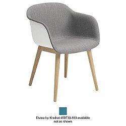 Fiber Front Upholstered Armchair Wood Legs (White/Divina by Kradrat 460730-893/Wood) - OPEN BOX RETURN