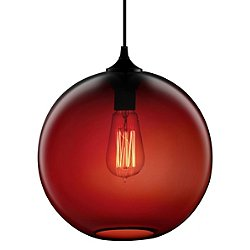 Solitaire Pendant Light (Crimson/A19/Black/Brushed)-OPEN BOX