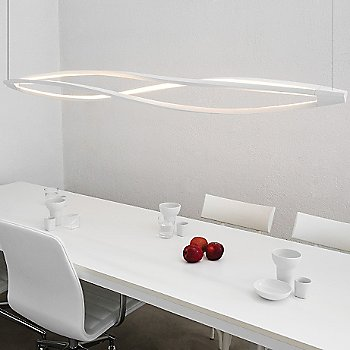 Shown lit in Matte White finish, Horizontal Suspension