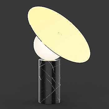 Marquina Black Marble Base with Brass Shade