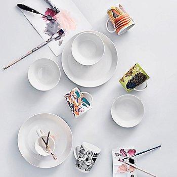 Graphics Mug Distortion with Graphics Mug Shaped/Shifted, Graphics Mug Solid Waves, Graphics Mug Anemone, Teema Dinner Plate, Teema Salad Plate and Teema Serving Bowl