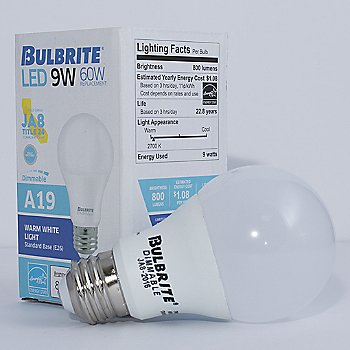 9W 120V A19 E26 LED Frosted Bulb (2-pack) with box
